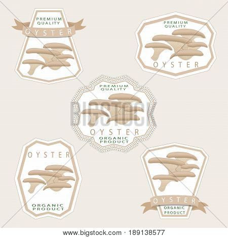 Abstract vector illustration of logo for whole ripe white mushroom oyster cut sliced product on background.Mushroom drawing consisting of tag label rope stem ripe food bow.Eat fresh oyster mushrooms.