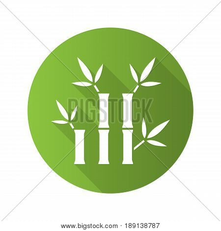 Bamboo sticks for massage. Flat design long shadow icon. Spa salon. Vector silhouette symbol