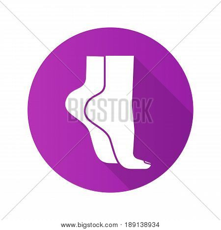 Woman's feet standing on tiptoe. Flat design long shadow icon. Vector silhouette symbol