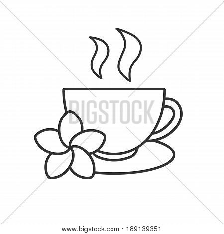 Herbal teacup linear icon. Thin line illustration. Tea cup with plumeria flower contour symbol. Vector isolated outline drawing
