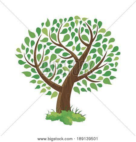 Green Tree Concept Illustration Hand Drawn Style