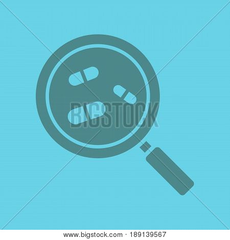 Drugstore and medicine search glyph color icon. Silhouette symbol. Magnifying glass with pills. Pharmacy nearby. Negative space. Vector isolated illustration