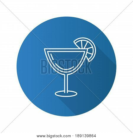 Margarita cocktail flat linear long shadow icon. Martini drink. Vector line symbol