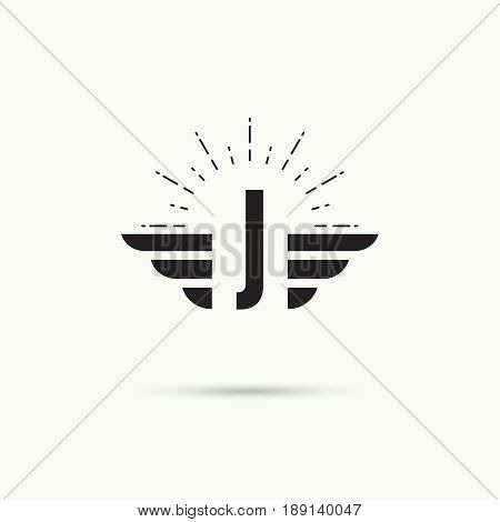 Elegant dynamic alphabet letters with wings. Monogram wing logo mockup. Creative design element. Corporate branding identity. Vector template. Letter j