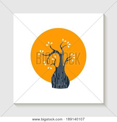 Concept cute tree illustration design with colorful geometric shape. EPS10 vector.