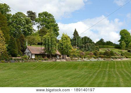 Tunbridge Wells England - May 20 2017: Calverley Grounds public park and tea room with ornamental gardens