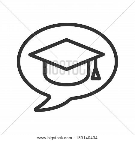 Conversation about studying linear icon. Let's talk about education. Thin line illustration. Chat box with student's graduation cap contour symbol. Vector isolated outline drawing