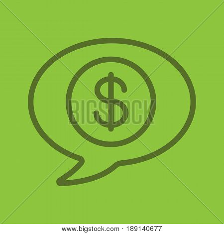 Money talk color linear icon. Chat box with dollar coin inside. Business conversation. Thin line contour symbols on color background. Vector illustration