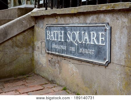 Street Sign For Bath Square In Royal Tunbridge Wells