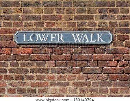 Street Sign On A Brick Wall For Lower Walk In The Pantiles
