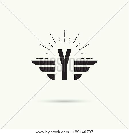 Elegant dynamic alphabet letters with wings. Monogram wing logo mockup. Creative design element. Corporate branding identity. Vector template. Letter y