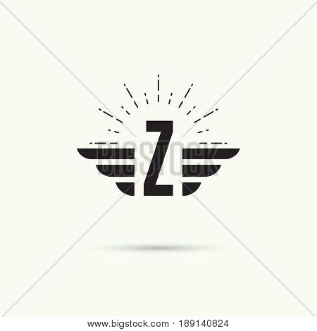 Elegant dynamic alphabet letters with wings. Monogram wing logo mockup. Creative design element. Corporate branding identity. Vector template. Letter z
