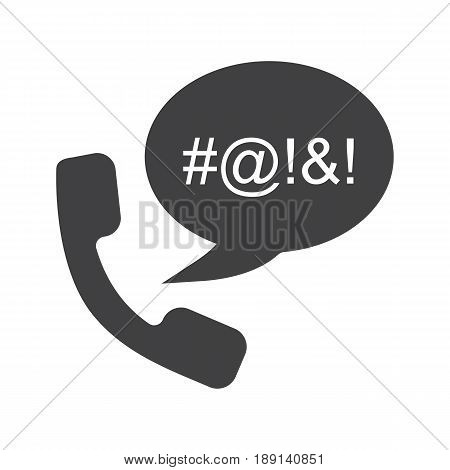 Offensive phone talk glyph icon. Cursing. Silhouette symbol. Chat box with censored swearing words and handset. Negative space. Vector isolated illustration
