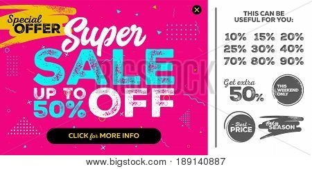 Bright Horizontal Super Sale Pink Banner. End of Season Special Offer Sale Up To 50 Percent Off. Seamless Memphis Style Pattern. Vector Template for Shop Market Flyer Banner Advertising.