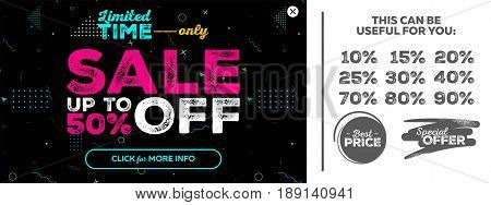 Dark Horizontal Super Sale Banner. Special Offer Sale Up To 50 Percent Off. Seamless Memphis Style Pattern. Vector Template for Shop Market Flyer Banner Advertising.