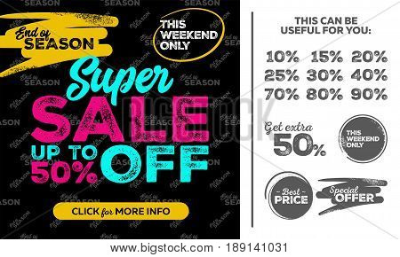 Horizontal Super Sale Banner. This Weekend Only Special Offer Sale Up To 50 Percent Off. Seamless End of Season Pattern. Vector Template for Shop Market Flyer Banner Advertising.