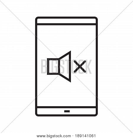 Volume mute smartphone linear icon. Thin line illustration. Smart phone with sound off contour symbol. Vector isolated outline drawing