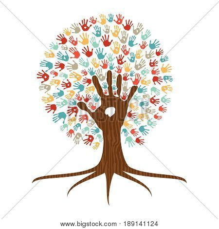 Hand Print Art Tree Illustration For Community Help