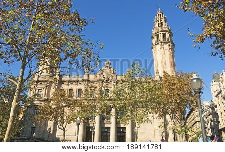 The famous central Post Office building in the city of Barcelona on November 15 2016 in Barcelona Spain. The central post office is located between Via Laietana street and Christopher Columbus street