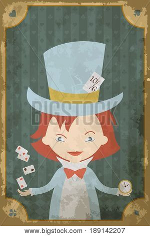 Postcard with character of Wonderland. Mad Hatter. Vintage poster, card in old paper style, grunge texture