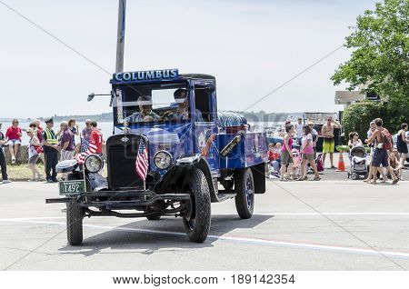 Bristol Rhode Island USA - July 4 2011: Antique oil truck at Independence Day parade in Bristol Rhode Island