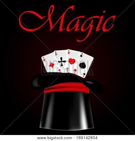Vector illustration with a cylinder and cards. Hat for magic tricks and magic