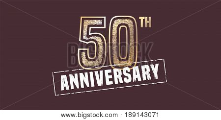 50 years anniversary vector icon, logo. Graphic design element with golden stamp for 50th anniversary decoration