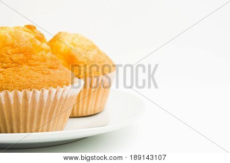 delicious muffins isolated on white background wit copy space.