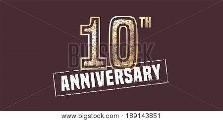 10 years anniversary vector icon, logo. Graphic design element with golden stamp for 10th anniversary decoration