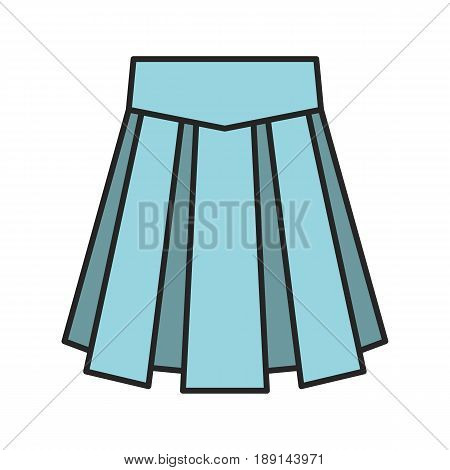 Skirt color icon. School uniform skirt. Isolated vector illustration