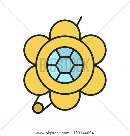 Brooch color icon. Flower shape brooch. Isolated vector illustration