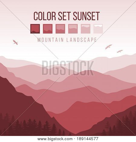 Landscape with Silhouettes of Misty Mountains and Forest at Red Sunset with Birds in the Sky