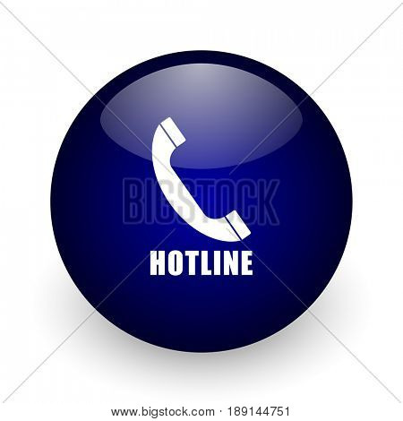 Hotline blue glossy ball web icon on white background. Round 3d render button.