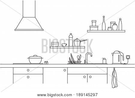 Kitchen sink. Kitchen worktop with sink kitchen hood and plate in line style.