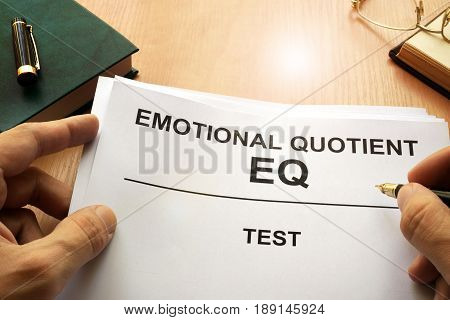 Emotional quotient  EQ test on a office table.