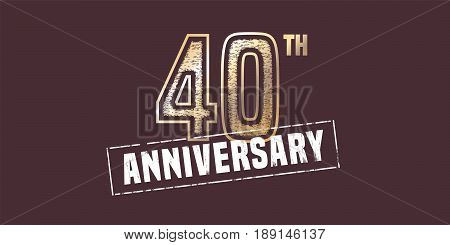 40 years anniversary vector icon, logo. Graphic design element with golden stamp for 40th anniversary decoration