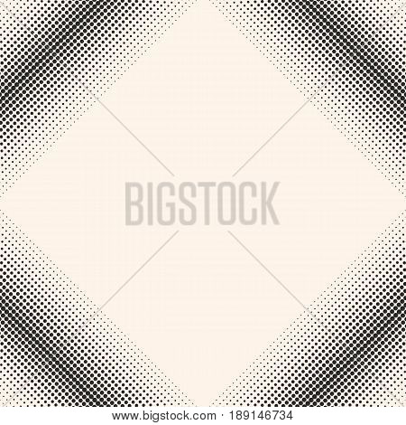 Vector monochrome halftone pattern, abstract seamless texture, gradually transition dots in square form diagonal frame background texture. Abstract geometric seamless pattern. Design element for prints, covers, decor, digital.