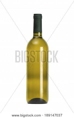 Mock-up bottle of wine isolated on white background
