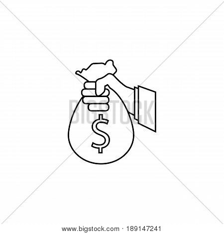 Sponsor Investment line icon, Hand Holding Money Bag, vector graphics, a linear pattern on a white background, eps 10.