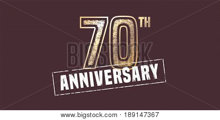 70 years anniversary vector icon, logo. Graphic design element with golden stamp for 70th anniversary decoration