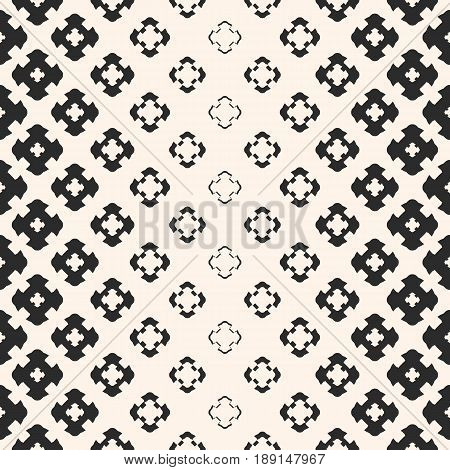 Vector halftone texture, monochrome seamless pattern, gradient transition effect from dark to light background. Geometric background with morphing floral shapes carved crosses. Stylish design element for prints seamless pattern.