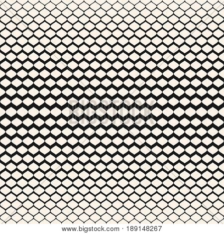 Halftone seamless pattern, vector monochrome texture, gradient transition effect background. Illustration of mesh with gradually thickness seamless texture. Modern abstract background. Design element for prints, cover, decor seamless pattern.
