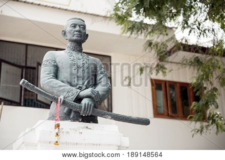 Yasothon Thailand - May 2017: Monument of Chaopraya Bodindecha (Sing Singhaseni), situated at Wat Mahathat Temple in Yasothon Province, Thailand