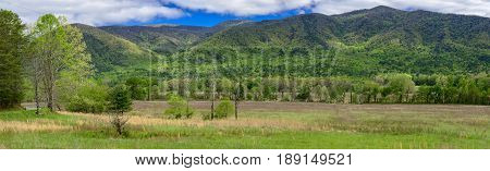 A springtime panorama from the Cades Cove section of the Great Smoky Mountains National Park.