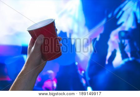 a lot, ad, advertisement, advertising, air, alcohol, beer, beer pong, beverage, blue, boy, celebrate, celebration, club, college, container, cups, dance, dance floor, disposable, drunk, event, flip cup, fun, game, going out, hand, hands up, having fun, ho