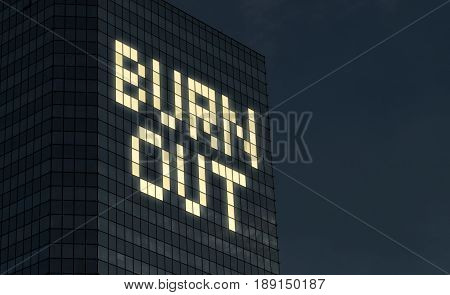 Burnout concept. Exhaustion and stress from too much things to do at job. Stressful overtime job causes mental problems and crisis. Text made by office building window lights at night.