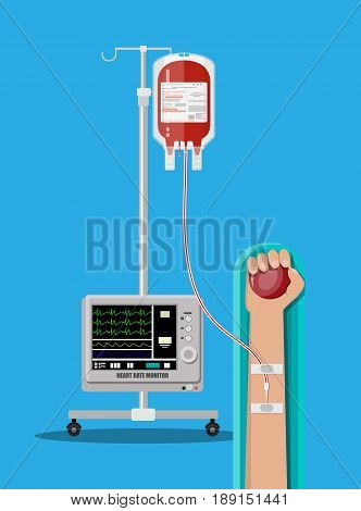 Blood bag and heart at holder, hand of donor with ball. Heart rate monitor. Blood donation day concept. Human donates blood. Vector illustration in flat style.