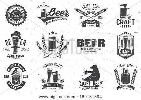 Set of Craft Beer badges with hops, raven and bear. Vector illustration. Vintage design for bar, pub and restaurant business. Coaster for beer.