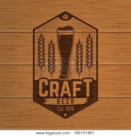 Craft Beer badge. Vector illustration. Vintage design for bar, pub and restaurant business. Photorealistic wood engraved craft beer design.