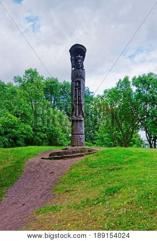Trakai, Lithuania - July 26, 2015: Wooden statue of a man on Trakai island near Vilnius Lithuania